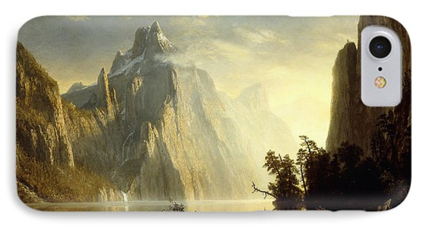 A Lake In The Sierra Nevada Phone Case by Albert Bierstadt