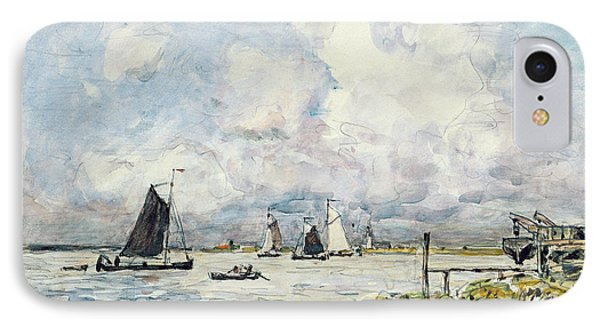 A Landing Stage On The Escaut IPhone Case by Johan-Barthold Jongkind