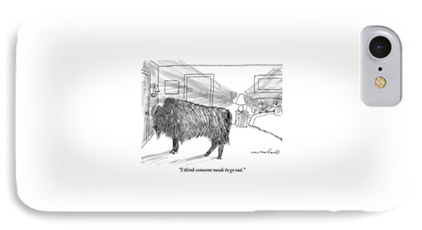 A Large Buffalo Stands Near The Door IPhone Case