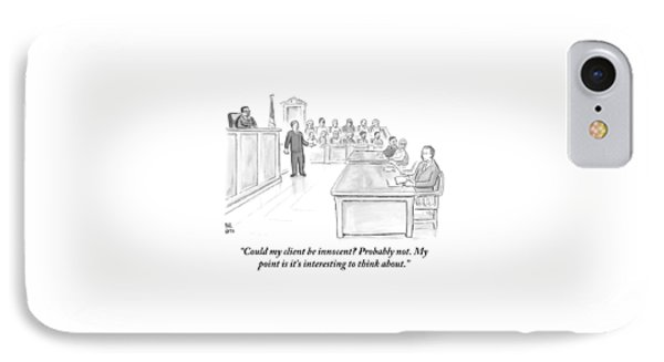 A Lawyer Makes His Case In Front Of A Jury Phone Case by Paul Noth