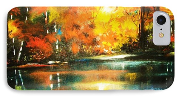 IPhone Case featuring the painting A Light In The Forest by Al Brown