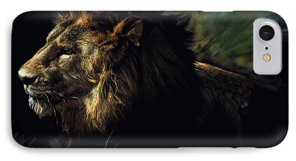 A Lion #1 IPhone Case by John Norman Stewart