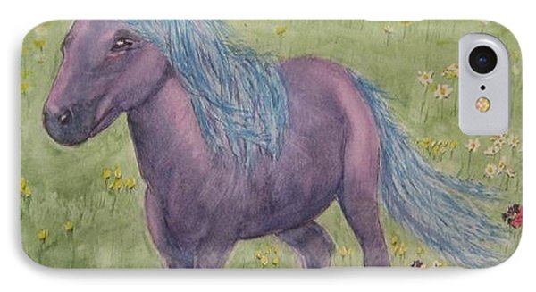 IPhone Case featuring the painting A Little Girls Imagination Pony by Kelly Mills