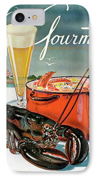 A Lobster And A Lobster Pot With Beer IPhone Case by Henry Stahlhut