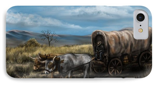 A Long Journey - Covered Wagon On The Prairie IPhone Case by Ron Grafe