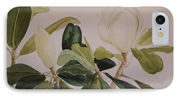IPhone Case featuring the painting A Magnolia Duet by Nancy Kane Chapman