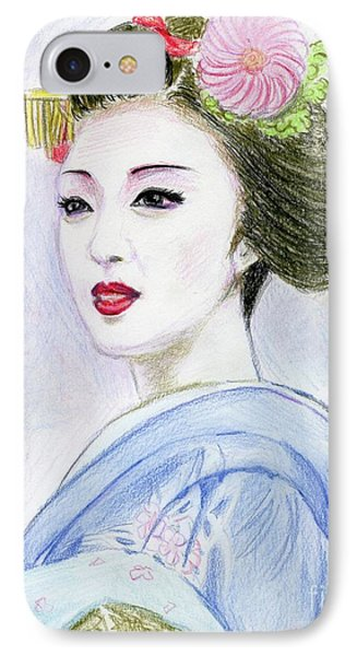 IPhone Case featuring the drawing A Maiko  Girl by Yoshiko Mishina