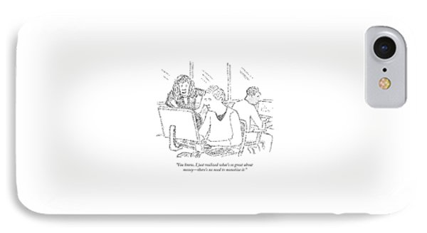 A Man And Woman Look At A Computer Together IPhone Case