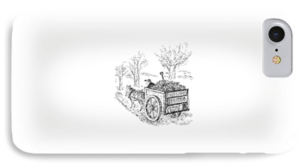 A Man Drives A Horse-drawn Cart With Bumper IPhone Case by Edward Koren