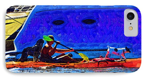 A Man His Kayak And His Dogs IPhone Case by Kirt Tisdale