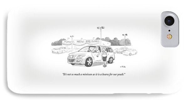A Man In A Minivan Speaks To A Woman At A Car IPhone Case