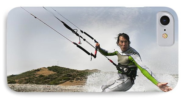 A Man Kite Surfing Off The Coast Of IPhone Case by Ben Welsh
