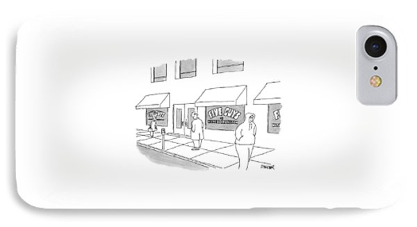 A Man On The Sidewalk Notices The Storefront IPhone Case by Jack Ziegler