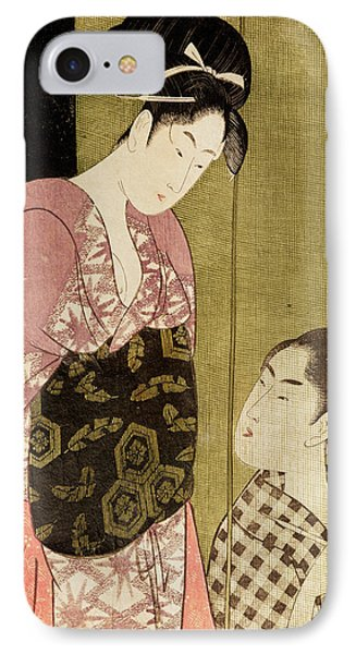 A Man Painting A Woman Woodblock Print IPhone Case