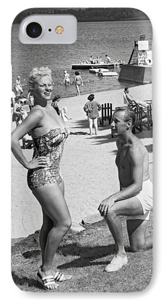 A Man Proposes On The Beach IPhone Case by Underwood Archives