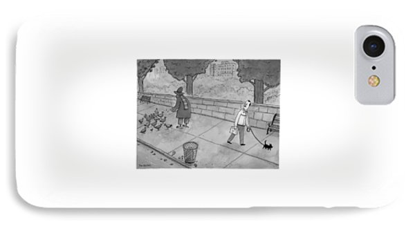 A Man Walking His Dog Sees A Mysterious Figure IPhone Case by Jason Patterson