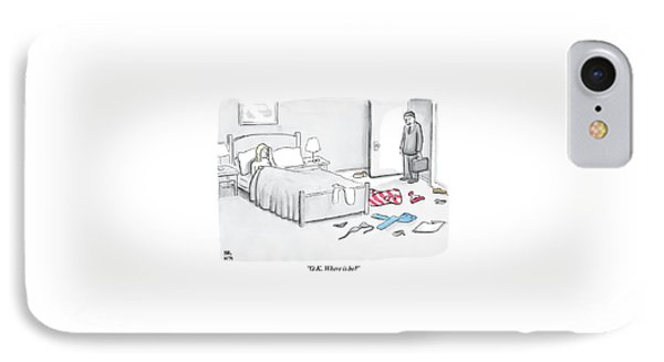A Man Walks Into A Room To Find His Wife In Bed IPhone Case by Paul Noth