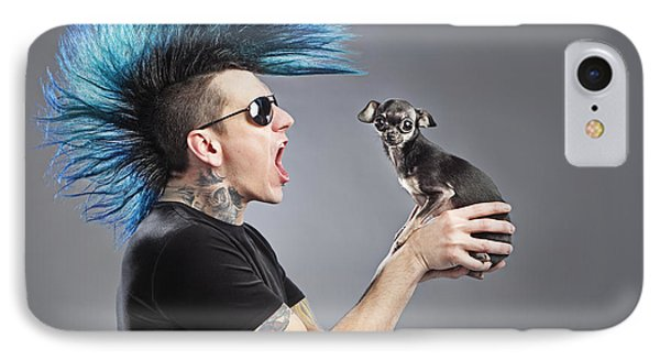 A Man With A Blue Mohawk Yells At His IPhone Case by Leah Hammond