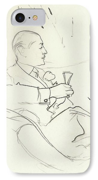 A Man With A Glass Of Wine IPhone Case by Carl Oscar August Erickson