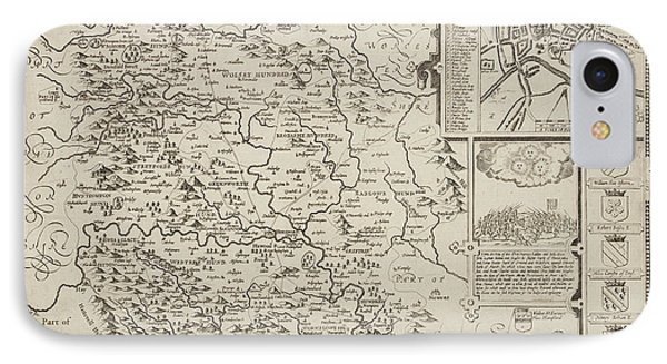 A Map Of Herefordshire Drawn In 1714 IPhone Case by British Library