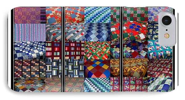 A Menagerie Of Colorful Quilts Triptych Phone Case by Barbara Griffin