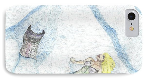 IPhone Case featuring the drawing A Mermaids Moment by Kim Pate