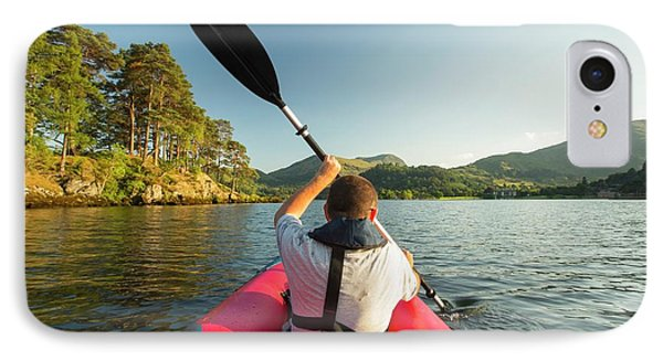 A Middle Aged Man Paddling IPhone Case