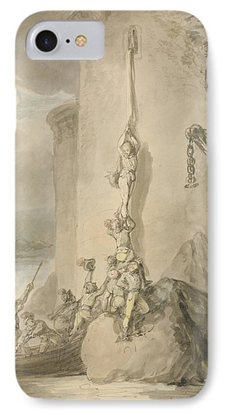 A Military Escapade, C.1794 Pen & Ink With Wc And Wash Over Graphite On Paper IPhone Case by Thomas Rowlandson