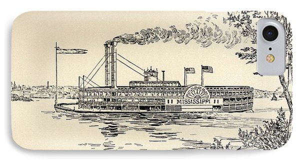 A Mississippi Steamer Off St Louis From American Notes By Charles Dickens  IPhone Case by EH Fitchew