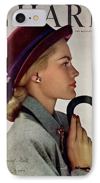 A Model In A Vic-deb Derby Hat IPhone Case by Hal Reiff