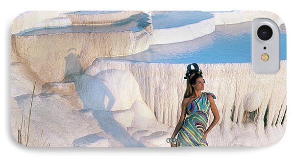 A Model On The Cliffs Of Pamukkale IPhone Case by Henry Clarke