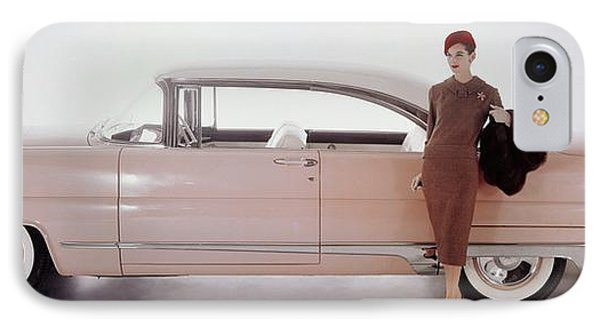 A Model Posing In Front Of A Vintage Car IPhone Case by Karen Radkai