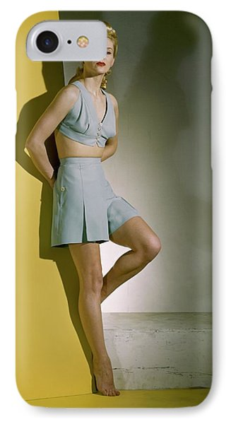 A Model Wearing A Bathing Suit IPhone Case by Horst P. Horst