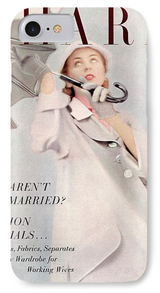 A Model Wearing A Duster Coat By Duchess Royal IPhone Case by Milton Greene