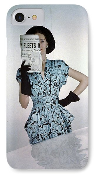 A Model Wearing A Floral Blue Dress IPhone Case by Constantin Joff?