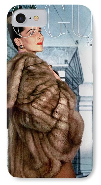 A Model Wearing A Jacket Of Asiatic Marten IPhone Case by John Rawlings