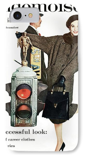 A Model Wearing A Modelia Tweed Coat IPhone Case by Stephen Colhoun
