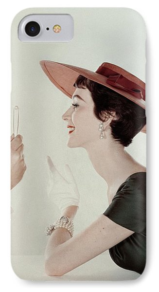 A Model Wearing A Sun Hat And Dress IPhone Case by John Rawlings