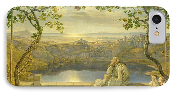 A Monk On A Terrace At The Nemi Lake IPhone Case by Joachim Faber