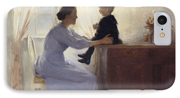 A Mother And Child In An Interior Phone Case by Peter Vilhelm Ilsted