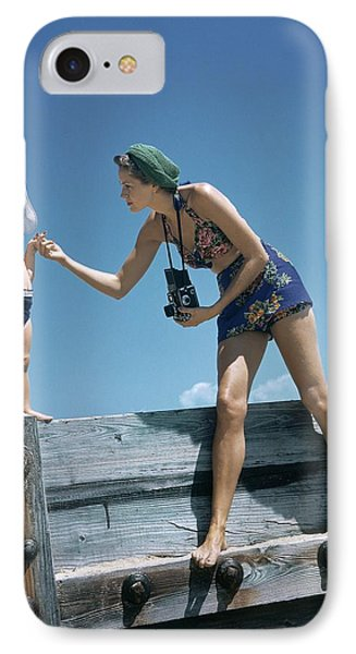 A Mother And Son On A Pier IPhone Case by Toni Frissell