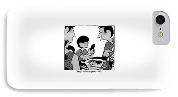 A Mother, Father And Son At Family Dinner IPhone Case by William Haefeli