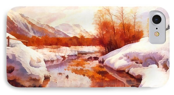 A Mountain Torrent In A Winter Landscape IPhone Case by Peder Mork Monsted