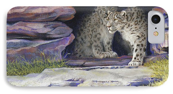 A New Day - Snow Leopards Phone Case by Tracy L Teeter