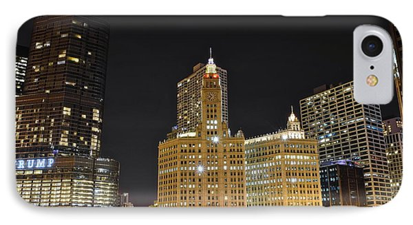 A Night Over The Chicago River IPhone Case by Frozen in Time Fine Art Photography