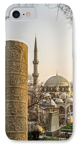 A Ottoman Gravestone And Eyup Sultan Mosque At Eyup Istanbul IPhone Case by Leyla Ismet