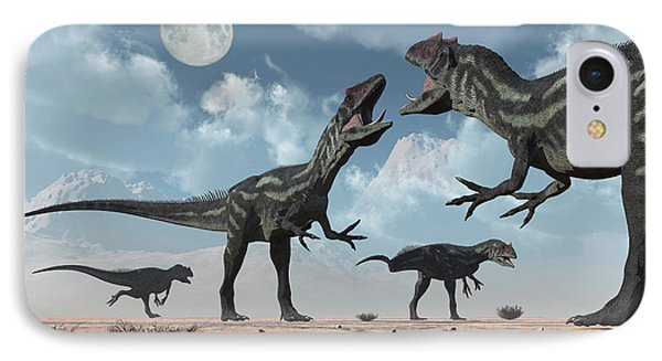 A Pack Of Allosaurus Dinosaurs IPhone Case