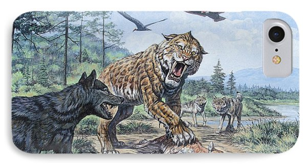 A Pack Of Canis Dirus Wolves Approach IPhone Case by Mark Hallett