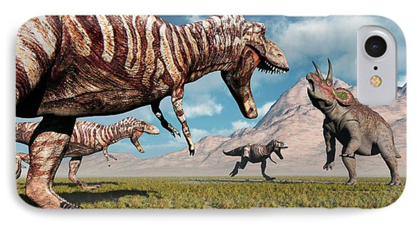 A Pack Of T-rex Dinosaurs Moving IPhone Case