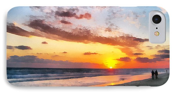 A Painting Of The Sunset At Sea IPhone Case by Odon Czintos